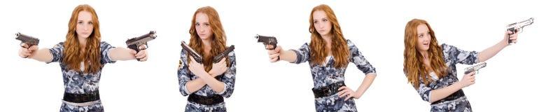 Ο στρατιώτης γυναικών που απομονώνεται στο λευκό Στοκ φωτογραφία με δικαίωμα ελεύθερης χρήσης