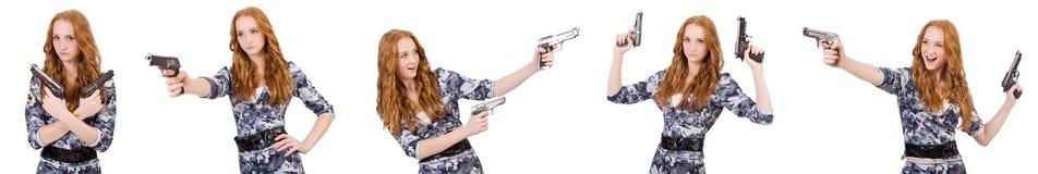 Ο στρατιώτης γυναικών που απομονώνεται στο λευκό Στοκ Εικόνα