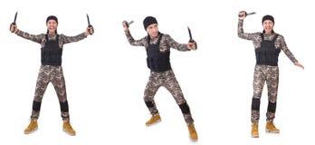 Ο στρατιώτης με το μαχαίρι που απομονώνεται στο λευκό στοκ φωτογραφίες