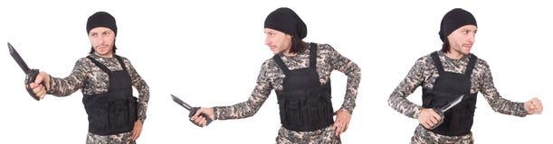 Ο στρατιώτης με το μαχαίρι που απομονώνεται στο λευκό στοκ φωτογραφία με δικαίωμα ελεύθερης χρήσης
