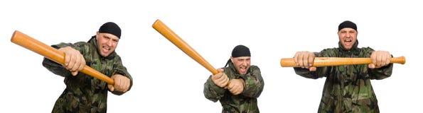 Ο στρατιώτης με το ρόπαλο του μπέιζμπολ στο λευκό Στοκ φωτογραφία με δικαίωμα ελεύθερης χρήσης