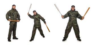 Ο στρατιώτης με το ρόπαλο του μπέιζμπολ στο λευκό Στοκ εικόνες με δικαίωμα ελεύθερης χρήσης