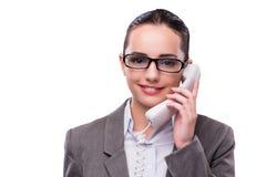 Ο συμπαθητικός κομψός χειριστής τηλεφωνικών κέντρων που απομονώνεται στο λευκό Στοκ εικόνα με δικαίωμα ελεύθερης χρήσης