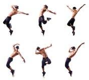 Ο σχισμένος χορευτής που απομονώνεται στο λευκό στοκ εικόνες με δικαίωμα ελεύθερης χρήσης