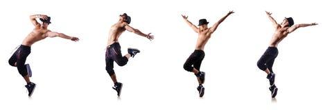 Ο σχισμένος χορευτής που απομονώνεται στο λευκό στοκ φωτογραφία