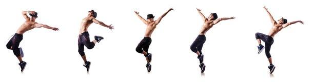 Ο σχισμένος χορευτής που απομονώνεται στο λευκό στοκ εικόνα