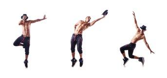 Ο σχισμένος χορευτής που απομονώνεται στο λευκό στοκ εικόνα με δικαίωμα ελεύθερης χρήσης