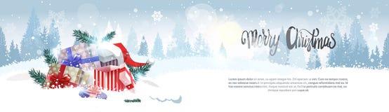 Ο σωρός των δώρων πέρα από ευχετήρια κάρτα διακοπών υποβάθρου Χαρούμενα Χριστούγεννας χειμερινών τη δασική τοπίων σχεδιάζει το ορ απεικόνιση αποθεμάτων