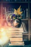 Ο σωρός των παλαιών βιβλίων και του φθινοπώρου ανθίζει τη διακόσμηση στο φλυτζάνι στο υπόβαθρο βιβλιοθηκών Στοκ Εικόνα