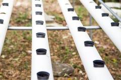 Ο σωλήνας PVC προετοιμάζεται για υδροπονικό Στοκ εικόνα με δικαίωμα ελεύθερης χρήσης