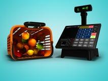 Ο σύγχρονος ταμίας με το όργανο ελέγχου για την αγορά στο καλάθι των μήλων πορτοκαλιών ακτινίδιων καρύδων απομόνωσε τρισδιάστατο  διανυσματική απεικόνιση