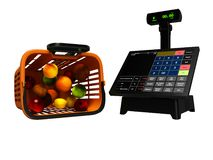 Ο σύγχρονος ταμίας με το όργανο ελέγχου για την αγορά στο καλάθι των μήλων πορτοκαλιών ακτινίδιων καρύδων απομόνωσε τρισδιάστατο  ελεύθερη απεικόνιση δικαιώματος