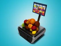 Ο σύγχρονος ταμίας με το όργανο ελέγχου για την αγορά των μήλων των πορτοκαλιών καρύδων ακτινίδιων τρισδιάστατων δίνει στο μπλε υ απεικόνιση αποθεμάτων