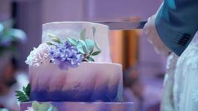 Ο σύζυγος είναι τέμνον πολύ όμορφο και ελκυστικό πορφυρό γαμήλιο κέικ φιλμ μικρού μήκους