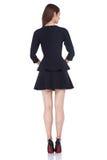 Ο τέλειος Μαύρος ένδυσης τρίχας brunette μορφής σωμάτων γυναικών ύφους μόδας Στοκ εικόνα με δικαίωμα ελεύθερης χρήσης