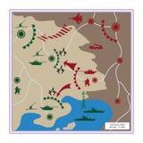 Ο τακτικός χάρτης με τα λεπτομερή εικονίδια Στοκ Φωτογραφία