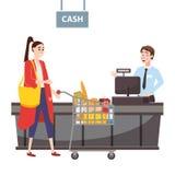 Ο ταμίας πίσω από το μετρητή ταμιών στην υπεραγορά, κατάστημα, κατάστη ελεύθερη απεικόνιση δικαιώματος