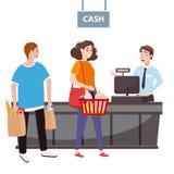 Ο ταμίας πίσω από το μετρητή ταμιών στην υπεραγορά, κατάστημα, κατάστημα εξυπηρετεί τον αγοραστή, μια γυναίκα με ένα σύνολο καλαθ διανυσματική απεικόνιση