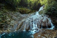 Ο ταξιδιωτικός εξερευνητής απολαμβάνει τη θέα του καταρράκτη στο βαθύ δάσος το καλοκαίρι, οπισθοσκόπο Στοκ φωτογραφίες με δικαίωμα ελεύθερης χρήσης