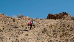 Ο ταξιδιώτης κοριτσιών αναρριχείται σε ένα απότομο βουνό με ένα ρόδινο σακίδιο πλάτης στους ώμους της 4k απόθεμα βίντεο