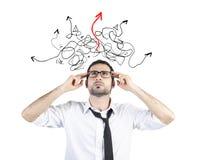Ο ταραγμένος επιχειρηματίας βρήκε τον τρόπο της λύσης στοκ εικόνες