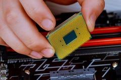 Ο τεχνικός βάζει την ΚΜΕ στην υποδοχή της μητρικής κάρτας υπολογιστών η έννοια του υλικού υπολογιστών, που επισκευάζει, στοκ φωτογραφία με δικαίωμα ελεύθερης χρήσης