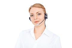 Ο τηλεφωνικός χειριστής υποστήριξης στην κάσκα, ξανθό κορίτσι Στοκ εικόνες με δικαίωμα ελεύθερης χρήσης