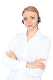 Ο τηλεφωνικός χειριστής υποστήριξης στην κάσκα, ξανθό κορίτσι στοκ εικόνες