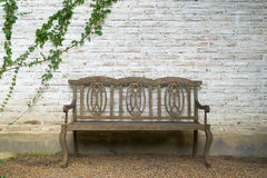 Ο τοίχος αποτελείται από το τούβλο κατόπιν χρωματίζεται στις άσπρες και παλαιές ξύλινες καρέκλες Υπάρχουν αναρριχητικά φυτά στον  Στοκ Εικόνα