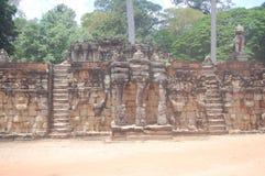 Ο τοίχος σε Angkor Wat σε Siem συγκεντρώνει, Καμπότζη Στοκ Φωτογραφίες