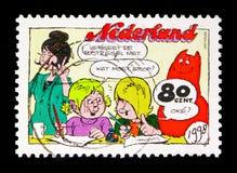 Ο τον Ιαν. του Jans & τα παιδιά: Η Cathy και ο Jeremy γράφουν μια επιστολή, Comics ser Στοκ φωτογραφία με δικαίωμα ελεύθερης χρήσης