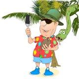 Ο τουρίστας φωτογραφίζεται στα πλαίσια της ζούγκλας Διανυσματική απεικόνιση