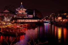 Ο τουρισμός, nanjing ποταμός qinhuai, ποταμός qinhuai nightscape, φεστιβάλ φαναριών, το φανάρι παρουσιάζει, φω'τα ποταμών qinhuai Στοκ Εικόνες