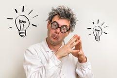 Ο τρελλός επιστήμονας πήρε τη μεγάλη ιδέα με το σύμβολο βολβών Στοκ εικόνες με δικαίωμα ελεύθερης χρήσης