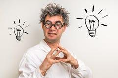Ο τρελλός επιστήμονας πήρε τη μεγάλη ιδέα με το σύμβολο βολβών Στοκ φωτογραφία με δικαίωμα ελεύθερης χρήσης