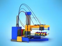ο τρισδιάστατος εκτυπωτής τυπώνει ένα πρότυπο της χέρι-εκτύπωσης της διαδικασίας ενός χεριού υπέρ διανυσματική απεικόνιση