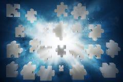 ο τρισδιάστατος απομονωμένος σύνδεση γρίφος καθιστά άσπρος Στοκ Εικόνα
