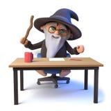 ο τρισδιάστατος αστείος χαρακτήρας μάγων μάγων κάθεται σε ένα γραφείο που κυματίζει τη μαγική ράβδο του Στοκ Εικόνα