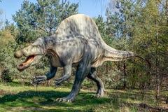 ο τρισδιάστατος δεινόσαυρος ψαλιδίσματος πέρα από το μονοπάτι δίνει το λευκό spinosaurus σκιών Στοκ Εικόνες