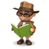ο τρισδιάστατος εξερευνητής διαβάζει ένα βιβλίο διανυσματική απεικόνιση