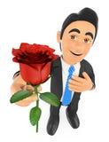 ο τρισδιάστατος επιχειρηματίας που δίνει ένα κόκκινο αυξήθηκε με το χέρι στην καρδιά Αγάπη concep Στοκ Φωτογραφία