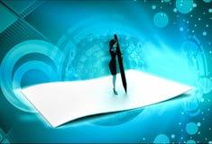 ο τρισδιάστατος χαρακτήρας γράφει σε μεγάλο χαρτί χρησιμοποιώντας τη μεγάλη απεικόνιση μανδρών Στοκ Φωτογραφία