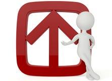 ο τρισδιάστατος χαρακτήρας humanoid με ένα κόκκινο υπογράφει επάνω Στοκ εικόνα με δικαίωμα ελεύθερης χρήσης