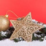 ο τρισδιάστατος χρυσός Χριστουγέννων hdr δίνει το αστέρι Στοκ Εικόνα