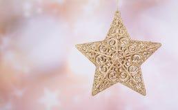 ο τρισδιάστατος χρυσός Χριστουγέννων hdr δίνει το αστέρι Στοκ Φωτογραφία