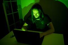 Ο τρυπημένος χρήστης εξετάζει τον υπολογιστή του κοιτάζοντας βιαστικά μέσω του Διαδικτύου Στοκ Εικόνα