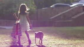 Ο τρόπος ζωής αγοραστών, μοντέρνο παιδί με το σκυλί στο λουρί και με τα μέρη των τσαντών μετά από την επίσκεψη του καταστήματος π απόθεμα βίντεο