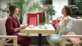 Ο τρόπος ζωής αγοραστών, χαρούμενα κορίτσια πίνει το τσάι στον καφέ κατά τη διάρκεια των αγορών στις εποχιακές πωλήσεις και τις ε απόθεμα βίντεο