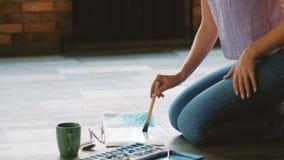 Ο τρόπος ζωής καλλιτεχνών δημιουργεί το πάτωμα έργου τέχνης watercolor φιλμ μικρού μήκους