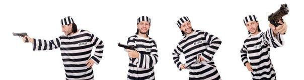 Ο τρόφιμος φυλακών με το πυροβόλο όπλο που απομονώνεται στο λευκό Στοκ Εικόνα
